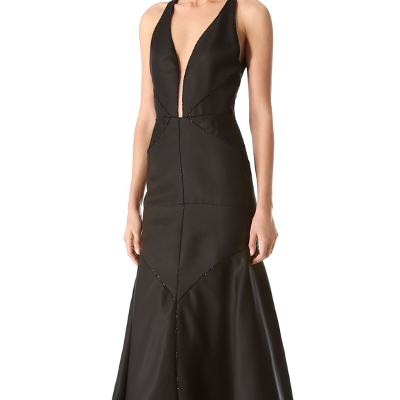 Jmendel beaded black halter gown